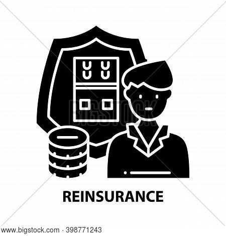 Reinsurance Icon, Black Vector Sign With Editable Strokes, Concept Illustration