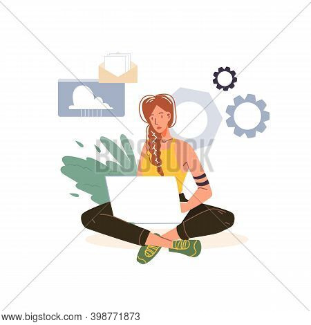 Cartoon Flat Character At Work Doing Some Business - Self-employed Or Office Worker, Web Online, Sit