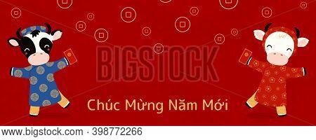2021 Vietnamese New Year Tet Illustration, Cute Buffalo Boy, Girl In Ao Dai, Red Envelope, Vietnames