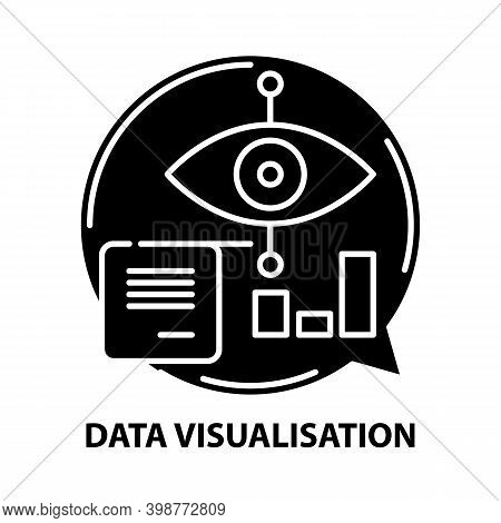 Data Visualisation Icon, Black Vector Sign With Editable Strokes, Concept Illustration