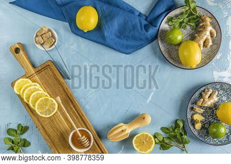 Ginger, Honey, Lemon And Lime Herbal Tea Preparation With High Levels Of Vitamin C, Boosting The Imm