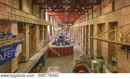 HOOVER DAM, ARIZONA - MAY 12, 2019: Generators of the Hoover Dam Power Plant. The dam was opened in 1936 amidst the Great Depression.
