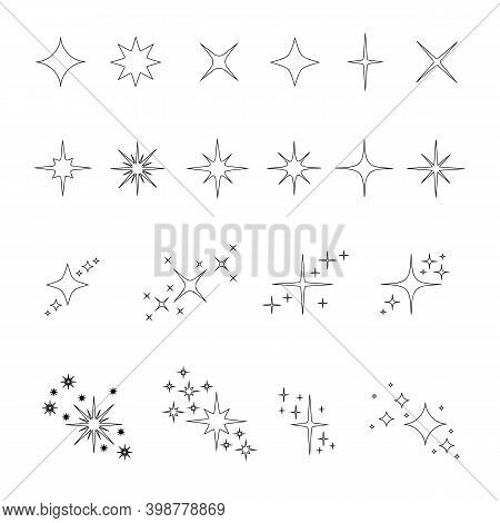 Set Of Outline Stars Sparkles And Twinkles Icons Isolated On White Background. Bright Flash, Shiny G