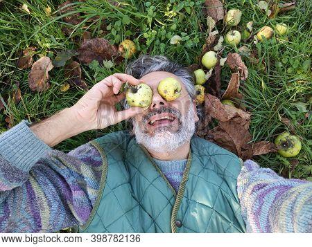Funny Mature Man, Apple Harvest Abundance Concept