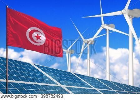 Tunisia Solar And Wind Energy, Renewable Energy Concept With Windmills - Renewable Energy Against Gl