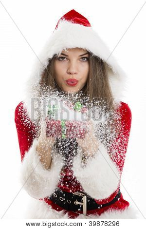 Santa Girl Blowing Snow