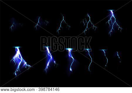 Sprite Sheet With Lightnings, Thunderbolt Strikes Set For Game Fx Animation. Vector Realistic Set Of