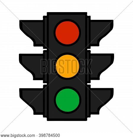 Traffic Lights Colorful Cartoon Stoplight Sign. Icon Traffic Light Isolated On White.