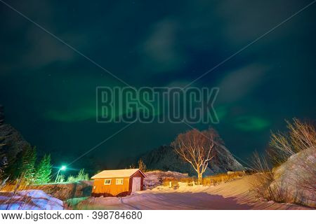 Aurora borealis Green northern lights above mountains