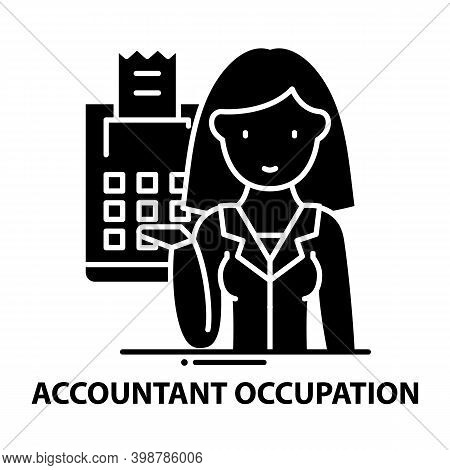 Accountant Occupation Icon, Black Vector Sign With Editable Strokes, Concept Illustration