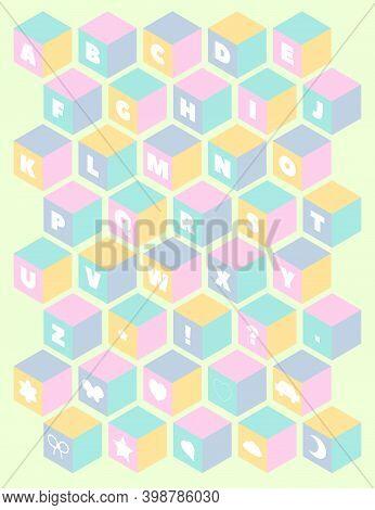 Baby Toy Building Blocks. Vector Alphabet Blocks. Kids Alphabet And Numbers Block Set. 3d Isometric