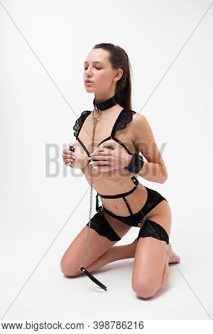 Unrecognizable Young Slim Female With Perfect Body In Black Panties And With Adhesive Tape On Nipple