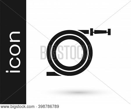 Grey Garden Hose Or Fire Hose Icon Isolated On White Background. Spray Gun Icon. Watering Equipment.