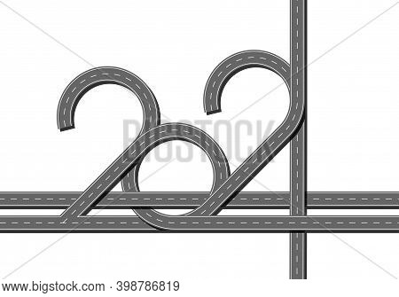 Top View Highway With 2021 Figures. Numbers Of Year In Shape Road.