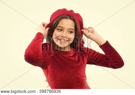 Cute Stylish Girl In Red Beret. Dream About France. Cheerful Kid Wearing French Style Beret. Happy C