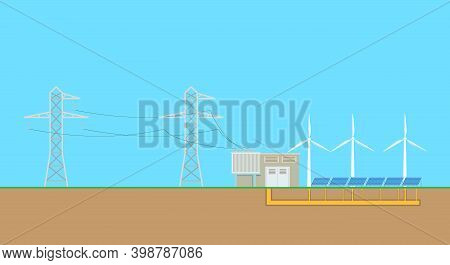 Sun And Wind Energy Producing. Alternative Energy Sources, Clean Energy, Ecoolgy. Vector Illustratio