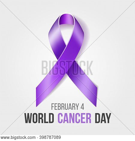 World Cancer Day Concept. Vector Illustration With Purple Ribbon Symbol