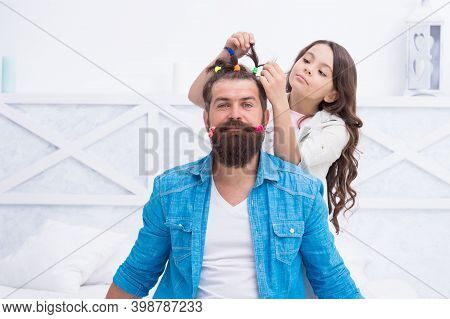 Your Hair Needs A Hairdresser. Little Daughter Do Fathers Hair. Hairdressing Salon. Barbershop. Hair
