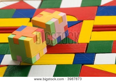 Puzzle Rubber On Colorful Background