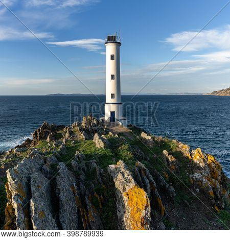 The Cabo Home Lighthouse In The Rias Baixas Region Of Galicia