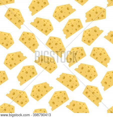 Cheese Seamless Vector Pattern. Appetizing Cheese With Holes