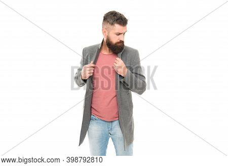 Modern Outfit. Stylish Casual Outfit. Menswear And Fashion Concept. Comfortable Outfit. Man Bearded