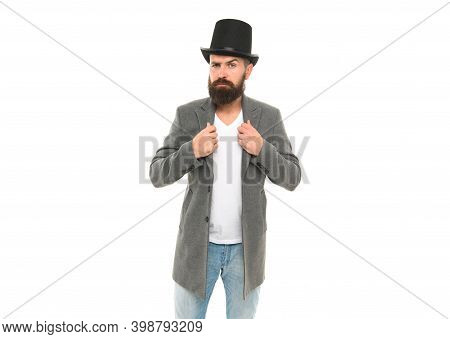 Circus Worker. Hocus Pocus. Man Bearded Guy Magician. Magic Trick Performance Concept. Circus Magic