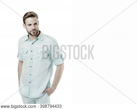 A Pinch Of Genuine Style. Caucasian Guy Wearing Casual Summer Style Isolated On White. Handsome Man
