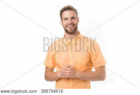 Business Man Isolated On White. Happy And Confident Broker. Broker Man Has Successful Business. Keep