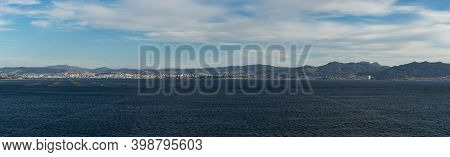 A View Of The Vigo River And City With Floating Shellfish Platforms In The Sea