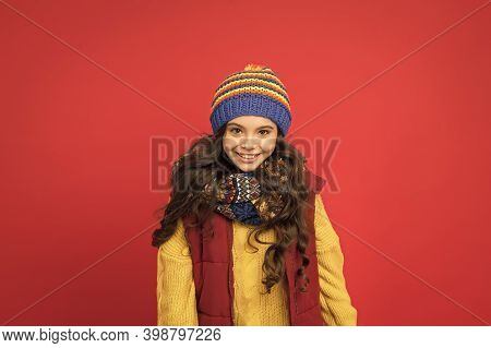 Welcome Winter In Style. Happy Child In Winter Style. Little Girl With Cute Look. Style And Fashion.