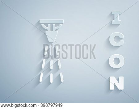 Paper Cut Fire Sprinkler System Icon Isolated On Grey Background. Sprinkler, Fire Extinguisher Solid