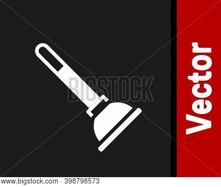 White Rubber Plunger With Wooden Handle For Pipe Cleaning Icon Isolated On Black Background. Toilet