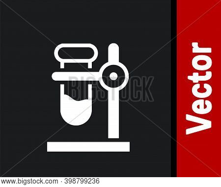 White Glass Test Tube Flask On Stand Icon Isolated On Black Background. Laboratory Equipment. Vector
