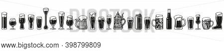 Various Types Of Beer Glasses And Mugs. Hand Drawn Engraving Style Vector Illustration Isolated On W