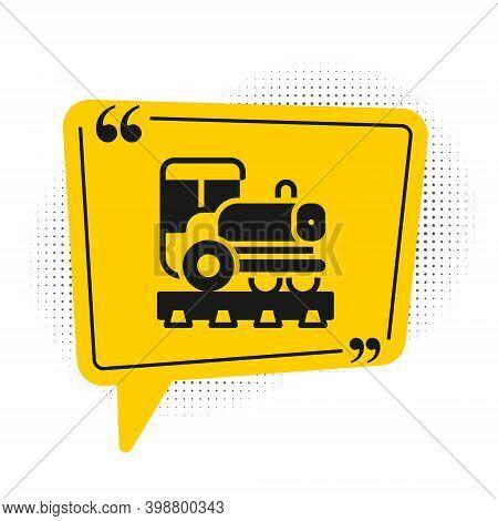 Black Vintage Locomotive Icon Isolated On White Background. Steam Locomotive. Yellow Speech Bubble S