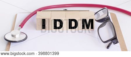 Cubes With The Word Iddm Insulin-dependent Diabetes Mellitus. Medical Concept