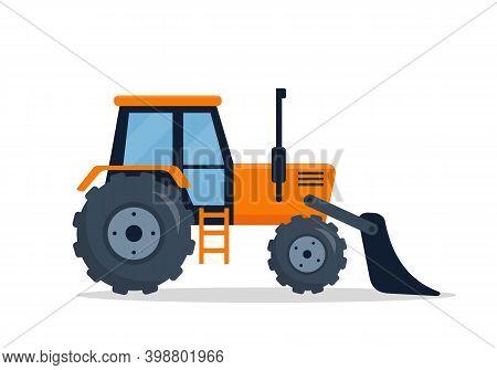 Crawler Bulldozer Isolated On White Background. Construction Dozer Truck Vehicle. Caterpillar Digger