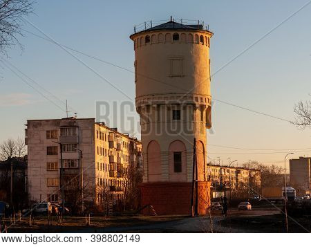 Petrozavodsk, Russia - 9 December 2020. Old Water Tower. Stone Tower