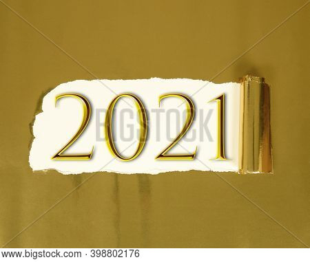 New Year 2021 Creative Design Concept - 3d Rendered Image Gold Torn Paper With White Background And