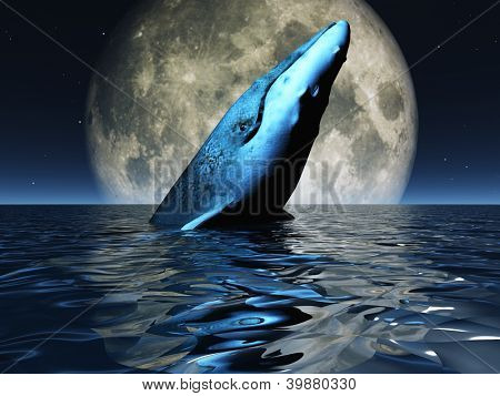 poster of Whale on oceans surface with full moon