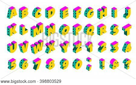 90s Isometric Memphis Dotted Alphabet. Vector Set Of Colorful Elements
