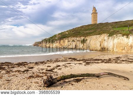 A View Of The Hercules Tower Lighthouse In La Coruna In Galicia