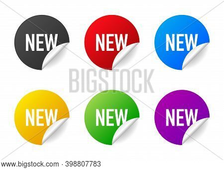 New. Realistic Badge Of Different Colors. Product Advertising. Web Design. Vector Illustration.