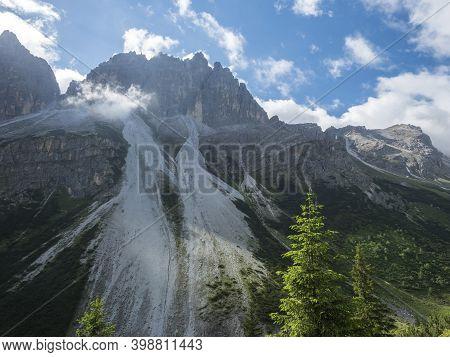 View On Limestone Moutain Peaks And Spruce Trees At Stubai Hohenweg, Alpine Landscape Of Tirol Alps,