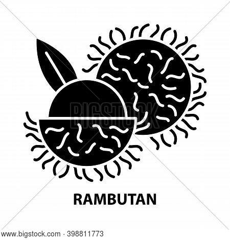 Rambutan Icon, Black Vector Sign With Editable Strokes, Concept Illustration