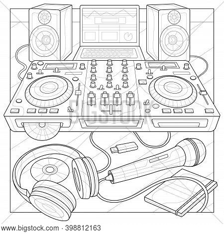 Dj Console, Microphone, Headphones, Laptop And Speakers.coloring Book Antistress For Children And Ad