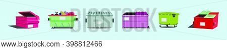 Set Of Dumpster Cartoon Icon Design Template With Various Models. Modern Vector Illustration Isolate