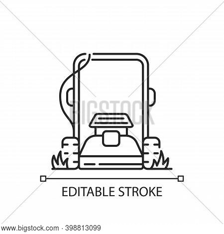 Lawn Mowing Linear Icon. Suburban Housekeeping Chore Thin Line Customizable Illustration. Contour Sy
