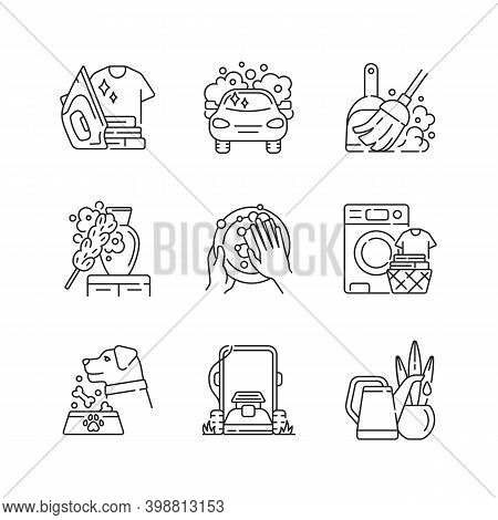 Cleaning Chores Linear Icons Set. Housekeeping Tasks Customizable Thin Line Contour Symbols. Housema